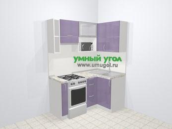 Кухни пластиковые угловые в современном стиле 5,0 м², 160 на 100 см, Сиреневый глянец, верхние модули 72 см, верхний модуль под свч, отдельно стоящая плита