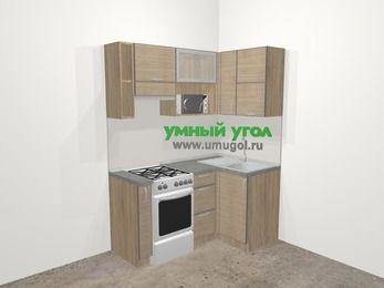 Кухни пластиковые угловые в стиле лофт 5,0 м², 160 на 100 см, Чибли бежевый, верхние модули 72 см, верхний модуль под свч, отдельно стоящая плита