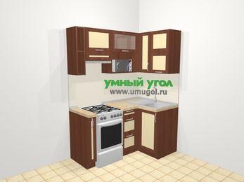 Угловая кухня из рамочного МДФ 5,0 м², 160 на 100 см, Вишня темная / Крем, верхние модули 72 см, верхний модуль под свч, отдельно стоящая плита