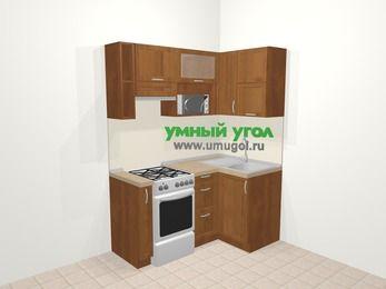 Угловая кухня из рамочного МДФ 5,0 м², 160 на 100 см, Орех, верхние модули 72 см, верхний модуль под свч, отдельно стоящая плита