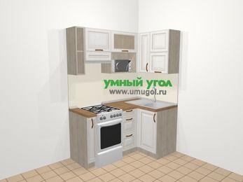 Угловая кухня МДФ патина в классическом стиле 5,0 м², 160 на 100 см, Лиственница белая, верхние модули 72 см, верхний модуль под свч, отдельно стоящая плита