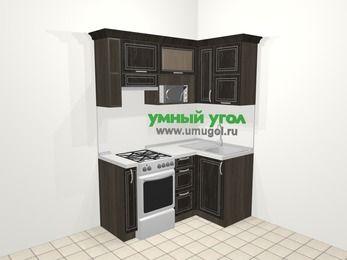 Угловая кухня МДФ патина в классическом стиле 5,0 м², 160 на 100 см, Венге, верхние модули 72 см, верхний модуль под свч, отдельно стоящая плита