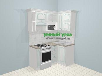 Угловая кухня МДФ патина в стиле прованс 5,0 м², 160 на 100 см, Лиственница белая, верхние модули 72 см, верхний модуль под свч, отдельно стоящая плита