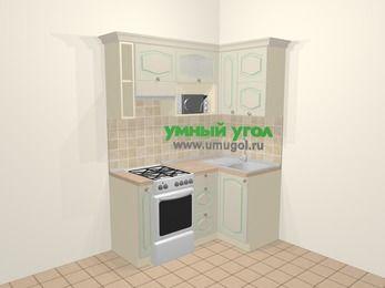 Угловая кухня МДФ патина в стиле прованс 5,0 м², 160 на 100 см, Керамик, верхние модули 72 см, верхний модуль под свч, отдельно стоящая плита