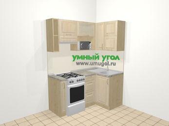 Угловая кухня из массива дерева в классическом стиле 5,0 м², 160 на 100 см, Светло-коричневые оттенки, верхние модули 72 см, верхний модуль под свч, отдельно стоящая плита