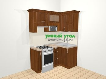 Угловая кухня из массива дерева в классическом стиле 5,0 м², 160 на 100 см, Темно-коричневые оттенки, верхние модули 72 см, верхний модуль под свч, отдельно стоящая плита