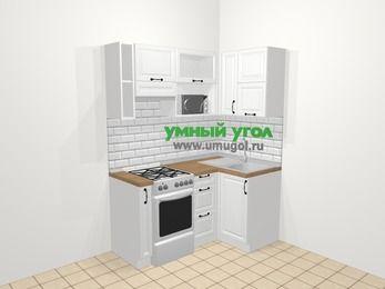 Угловая кухня из массива дерева в скандинавском стиле 5,0 м², 160 на 100 см, Белые оттенки, верхние модули 72 см, верхний модуль под свч, отдельно стоящая плита