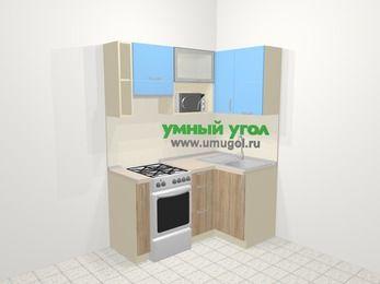 Угловая кухня из ЛДСП EGGER 5,0 м², 160 на 100 см, Голубой / Дуб, верхние модули 72 см, верхний модуль под свч, отдельно стоящая плита