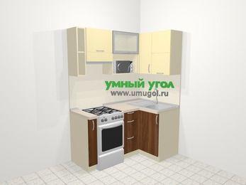 Угловая кухня из ЛДСП EGGER 5,0 м², 160 на 100 см, Ваниль / Орех, верхние модули 72 см, верхний модуль под свч, отдельно стоящая плита