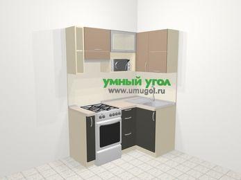 Угловая кухня из ЛДСП EGGER 5,0 м², 160 на 100 см, Бежевый / Трюфель, верхние модули 72 см, верхний модуль под свч, отдельно стоящая плита