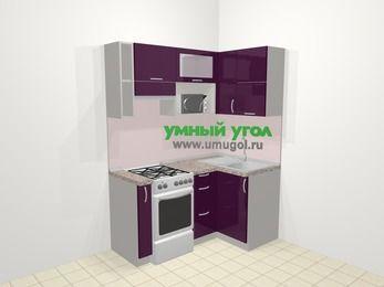 Угловая кухня МДФ глянец в современном стиле 5,0 м², 160 на 100 см, Баклажан, верхние модули 72 см, верхний модуль под свч, отдельно стоящая плита