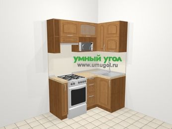 Угловая кухня МДФ патина в классическом стиле 5,0 м², 160 на 100 см, Ольха, верхние модули 72 см, верхний модуль под свч, отдельно стоящая плита