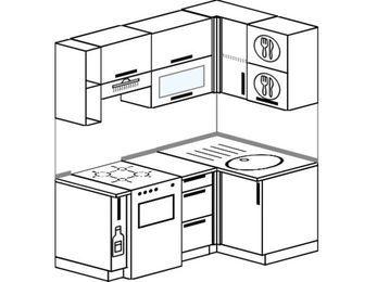 Угловая кухня 5,0 м² (1,6✕1,0 м), верхние модули 72 см, отдельно стоящая плита