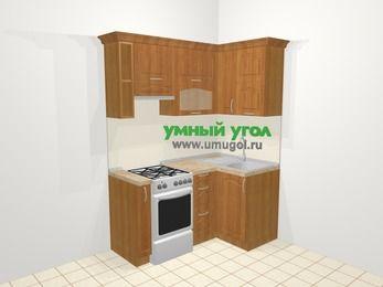 Угловая кухня МДФ матовый в классическом стиле 5,0 м², 160 на 100 см, Вишня, верхние модули 72 см, отдельно стоящая плита
