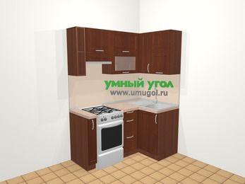 Угловая кухня МДФ матовый в классическом стиле 5,0 м², 160 на 100 см, Вишня темная, верхние модули 72 см, отдельно стоящая плита