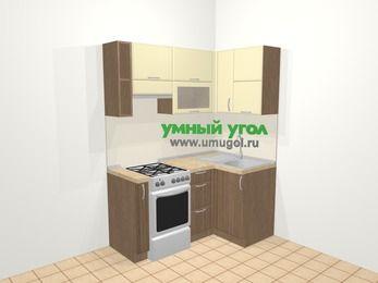 Угловая кухня МДФ матовый в современном стиле 5,0 м², 160 на 100 см, Ваниль / Лиственница бронзовая, верхние модули 72 см, отдельно стоящая плита