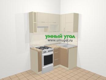Угловая кухня МДФ матовый в современном стиле 5,0 м², 160 на 100 см, Керамик / Кофе, верхние модули 72 см, отдельно стоящая плита