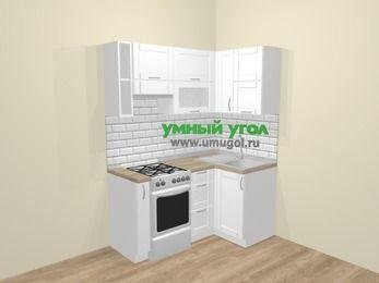 Угловая кухня МДФ матовый  в скандинавском стиле 5,0 м², 160 на 100 см, Белый, верхние модули 72 см, отдельно стоящая плита