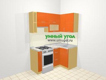 Угловая кухня МДФ металлик в современном стиле 5,0 м², 160 на 100 см, Оранжевый металлик, верхние модули 72 см, отдельно стоящая плита