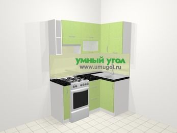 Угловая кухня МДФ металлик в современном стиле 5,0 м², 160 на 100 см, Салатовый металлик, верхние модули 72 см, отдельно стоящая плита