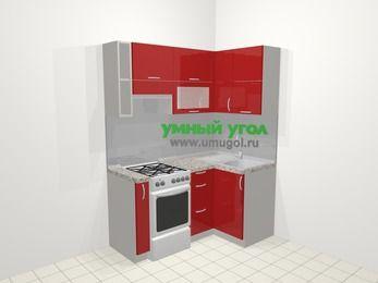 Угловая кухня МДФ глянец в современном стиле 5,0 м², 160 на 100 см, Красный, верхние модули 72 см, отдельно стоящая плита