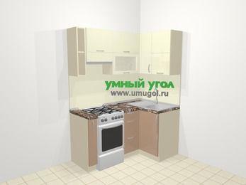 Угловая кухня МДФ глянец в современном стиле 5,0 м², 160 на 100 см, Жасмин / Капучино, верхние модули 72 см, отдельно стоящая плита