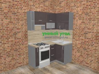 Угловая кухня МДФ глянец в стиле лофт 5,0 м², 160 на 100 см, Шоколад, верхние модули 72 см, отдельно стоящая плита