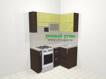 Кухни пластиковые угловые в современном стиле 5,0 м², 160 на 100 см, Желтый Галлион глянец / Дерево Мокка, верхние модули 72 см, отдельно стоящая плита