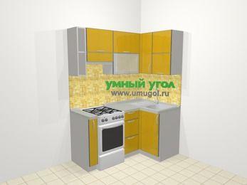 Кухни пластиковые угловые в современном стиле 5,0 м², 160 на 100 см, Желтый глянец, верхние модули 72 см, отдельно стоящая плита