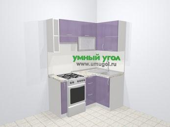Кухни пластиковые угловые в современном стиле 5,0 м², 160 на 100 см, Сиреневый глянец, верхние модули 72 см, отдельно стоящая плита
