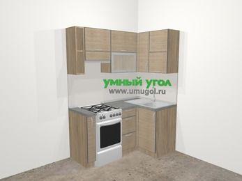 Кухни пластиковые угловые в стиле лофт 5,0 м², 160 на 100 см, Чибли бежевый, верхние модули 72 см, отдельно стоящая плита