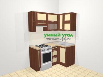Угловая кухня из рамочного МДФ 5,0 м², 160 на 100 см, Вишня темная / Крем, верхние модули 72 см, отдельно стоящая плита