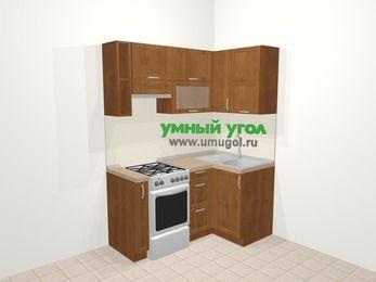 Угловая кухня из рамочного МДФ 5,0 м², 160 на 100 см, Орех, верхние модули 72 см, отдельно стоящая плита