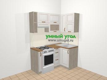 Угловая кухня МДФ патина в классическом стиле 5,0 м², 160 на 100 см, Лиственница белая, верхние модули 72 см, отдельно стоящая плита