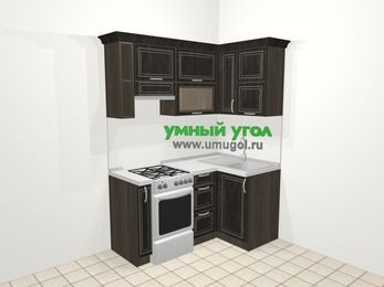 Угловая кухня МДФ патина в классическом стиле 5,0 м², 160 на 100 см, Венге, верхние модули 72 см, отдельно стоящая плита