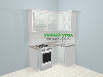 Угловая кухня МДФ патина в стиле прованс 5,0 м², 160 на 100 см, Лиственница белая, верхние модули 72 см, отдельно стоящая плита
