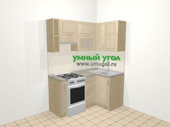 Угловая кухня из массива дерева в классическом стиле 5,0 м², 160 на 100 см, Светло-коричневые оттенки, верхние модули 72 см, отдельно стоящая плита