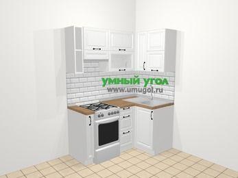 Угловая кухня из массива дерева в скандинавском стиле 5,0 м², 160 на 100 см, Белые оттенки, верхние модули 72 см, отдельно стоящая плита