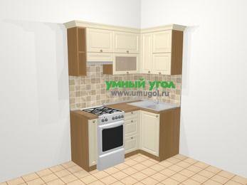 Угловая кухня из массива дерева в стиле кантри 5,0 м², 160 на 100 см, Бежевые оттенки, верхние модули 72 см, отдельно стоящая плита