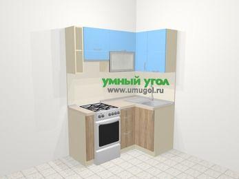 Угловая кухня из ЛДСП EGGER 5,0 м², 160 на 100 см, Голубой / Дуб, верхние модули 72 см, отдельно стоящая плита