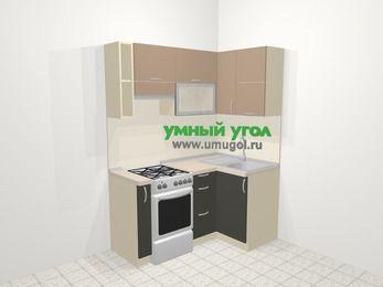 Угловая кухня из ЛДСП EGGER 5,0 м², 160 на 100 см, Бежевый / Трюфель, верхние модули 72 см, отдельно стоящая плита