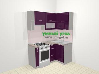 Угловая кухня МДФ глянец в современном стиле 5,0 м², 160 на 100 см, Баклажан, верхние модули 72 см, отдельно стоящая плита