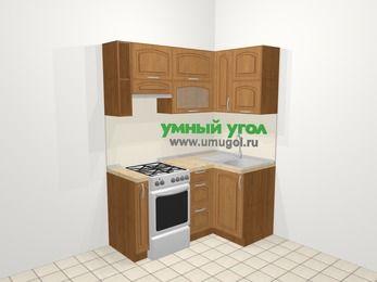 Угловая кухня МДФ патина в классическом стиле 5,0 м², 160 на 100 см, Ольха, верхние модули 72 см, отдельно стоящая плита