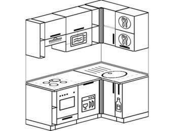 Угловая кухня 5,0 м² (1,6✕1,0 м), верхние модули 72 см, посудомоечная машина, верхний модуль под свч, встроенный духовой шкаф