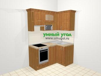 Угловая кухня МДФ матовый в классическом стиле 5,0 м², 160 на 100 см, Вишня, верхние модули 72 см, посудомоечная машина, верхний модуль под свч, встроенный духовой шкаф