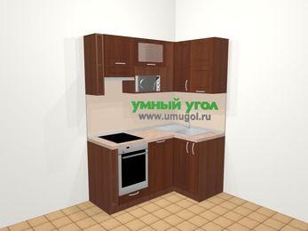 Угловая кухня МДФ матовый в классическом стиле 5,0 м², 160 на 100 см, Вишня темная, верхние модули 72 см, посудомоечная машина, верхний модуль под свч, встроенный духовой шкаф