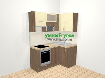 Угловая кухня МДФ матовый в современном стиле 5,0 м², 160 на 100 см, Ваниль / Лиственница бронзовая, верхние модули 72 см, посудомоечная машина, верхний модуль под свч, встроенный духовой шкаф