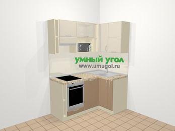 Угловая кухня МДФ матовый в современном стиле 5,0 м², 160 на 100 см, Керамик / Кофе, верхние модули 72 см, посудомоечная машина, верхний модуль под свч, встроенный духовой шкаф