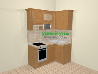 Угловая кухня МДФ матовый в стиле кантри 5,0 м², 160 на 100 см, Ольха, верхние модули 72 см, посудомоечная машина, верхний модуль под свч, встроенный духовой шкаф