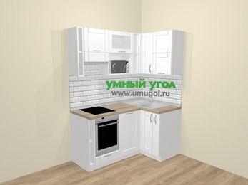 Угловая кухня МДФ матовый  в скандинавском стиле 5,0 м², 160 на 100 см, Белый, верхние модули 72 см, посудомоечная машина, верхний модуль под свч, встроенный духовой шкаф